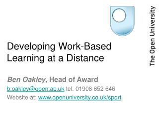 Developing Work-Based Learning at a Distance