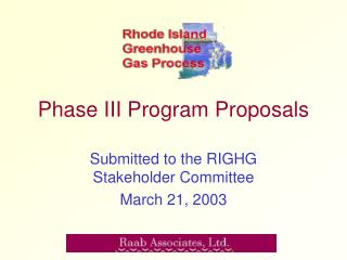 Phase III Program Proposals