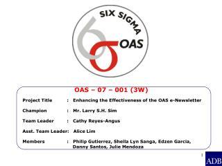OAS – 07 – 001 (3W)
