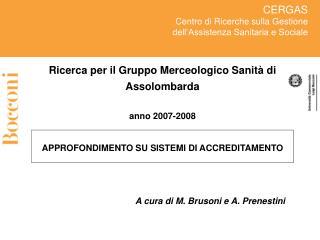A cura di M. Brusoni e A. Prenestini