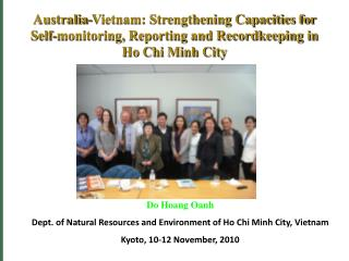 Do Hoang Oanh Dept. of Natural Resources and Environment of Ho Chi Minh City, Vietnam