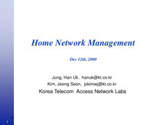 Home Network Management  Dec 12th, 2000