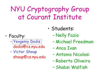 NYU Cryptography Group at Courant Institute