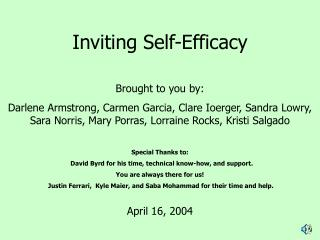 Inviting Self-Efficacy