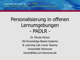 Personalisierung in offenen Lernumgebungen - PADLR -