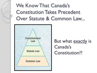 We Know That Canada's Constitution Takes Precedent Over Statute & Common Law...