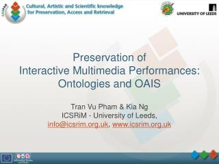 Preservation of  Interactive Multimedia Performances: Ontologies and OAIS