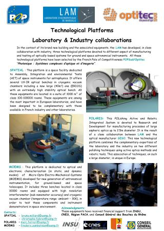 Technological Platforms Laboratory & Industry collaborations
