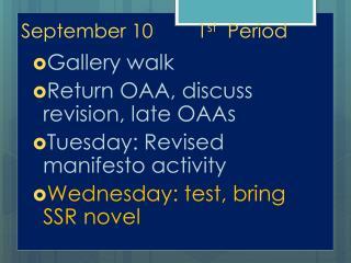 September 101 st   Period