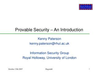 Provable Security – An Introduction