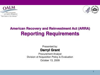 American Recovery and Reinvestment Act (ARRA) Reporting Requirements