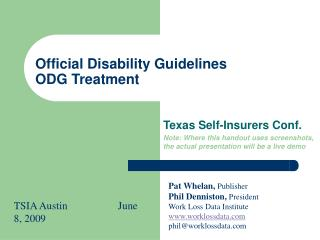 Official Disability Guidelines ODG Treatment