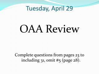 Tuesday, April 29