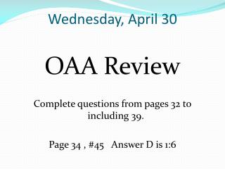 Wednesday, April 30