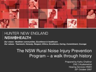 The NSW Rural Noise Injury Prevention Program – a walk through history