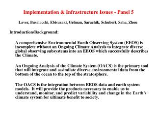 Implementation & Infrastructure Issues - Panel 5