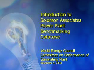 Introduction to Solomon Associates Power Plant Benchmarking Database