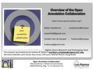 Overview of the  Open  Annotation Collaboration