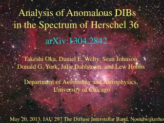 Analysis of Anomalous DIBs  in the Spectrum of Herschel 36