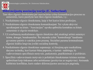 Diferencijuotų asociacijų teorija (E. Sutherland)