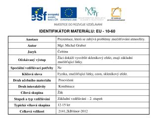IDENTIFIKÁTOR MATERIÁLU: EU - 10-60