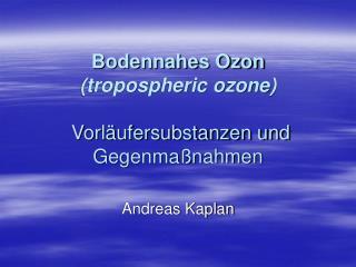Bodennahes Ozon (tropospheric ozone)  Vorläufersubstanzen und Gegenmaßnahmen