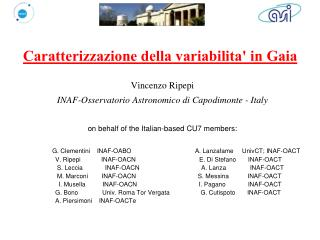 Caratterizzazione della variabilita' in Gaia