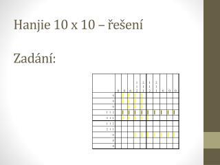 Hanjie 10 x 10  – řešení Zadání: