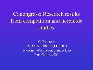 Cogongrass: Research results from competition and herbicide studies