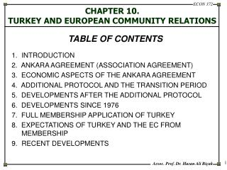 CHAPTER 10.   TURKEY AND EUROPEAN COMMUNITY RELATIONS