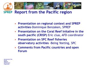 Report from the Pacific region