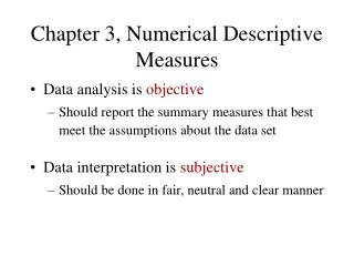 Chapter 3, Numerical Descriptive Measures