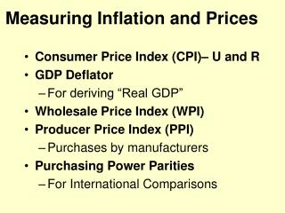 Measuring Inflation and Prices