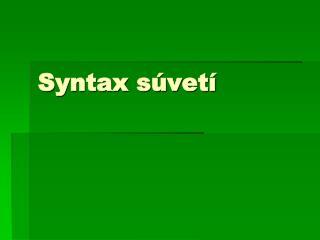 Syntax s�vet�