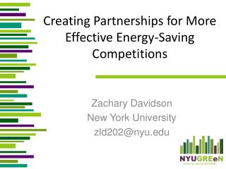 Creating Partnerships for More Effective Energy-Saving Competitions