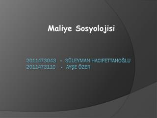 2011473043   -   Süleyman  hacIfettahoğlu 2011473110    -   Ayşe Özer
