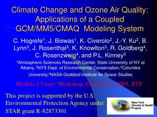 Climate Change and Ozone Air Quality: Applications of a Coupled GCM/MM5/CMAQ  Modeling System