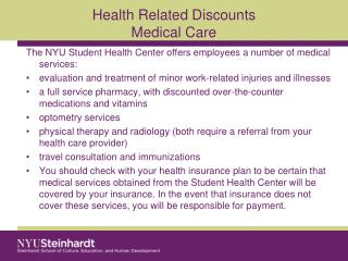 Health Related Discounts Medical Care