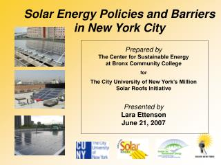 Solar Energy Policies and Barriers  in New York City