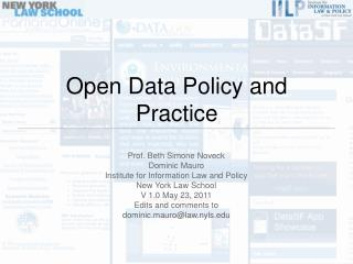 Open Data Policy and Practice