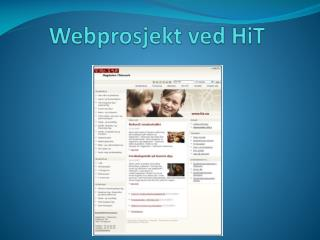 Webprosjekt ved  HiT