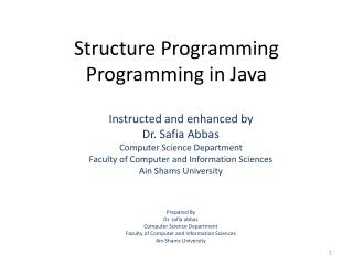 Structure Programming Programming in Java