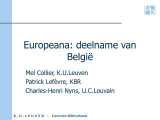 Europeana: deelname van België