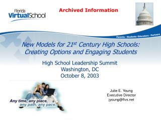 New Models for 21st Century High Schools: Creating Options and Engaging Students