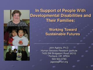 In Support of People With Developmental Disabilities and Their Families: