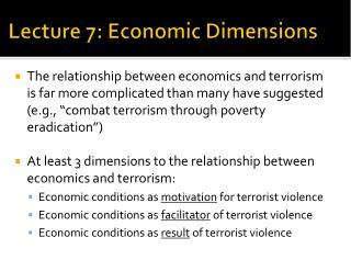 Lecture 7: Economic Dimensions