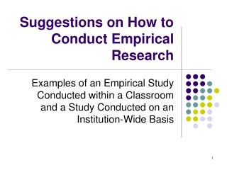 Suggestions on How to Conduct Empirical Research