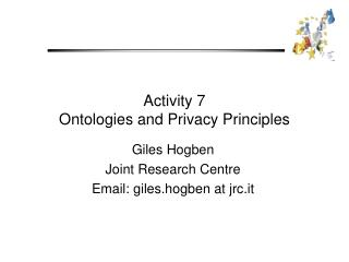 Activity 7 Ontologies and Privacy Principles