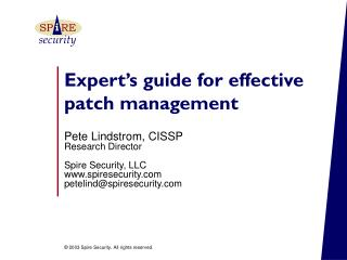 Expert�s guide for effective patch management