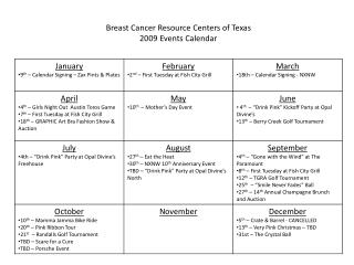 Breast Cancer Resource Centers of Texas 2009 Events Calendar
